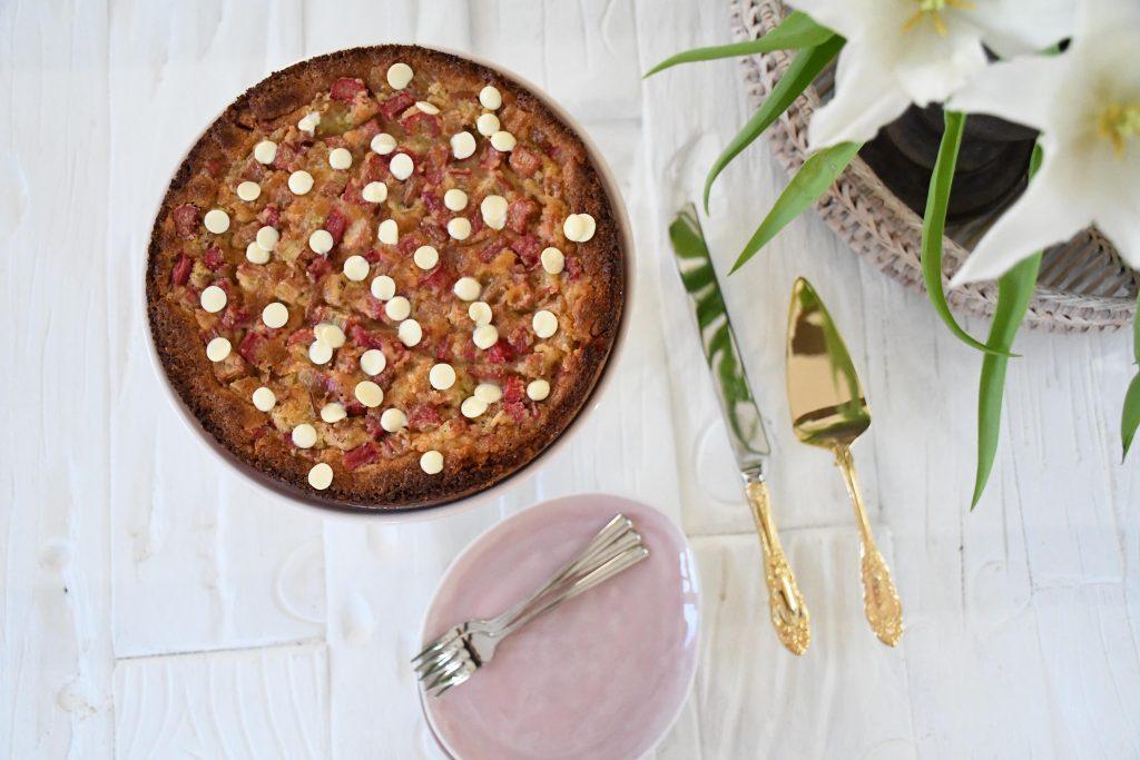 rabarberkage hvid chokolade