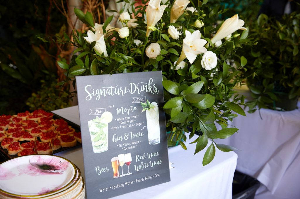 bryllup velkomstfest drinks