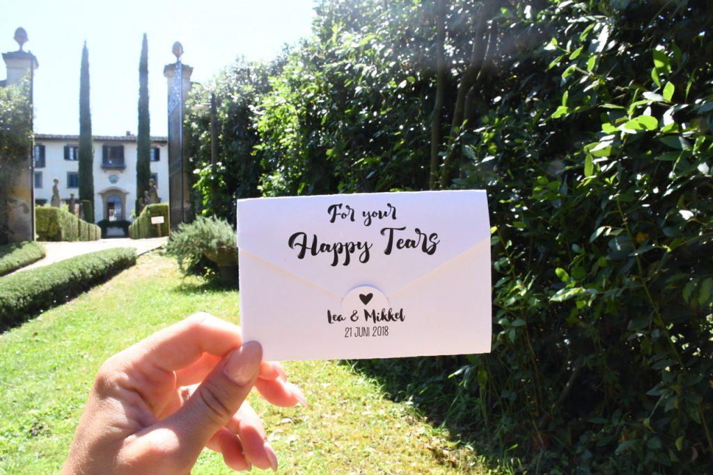 bryllup velkomstpose happy tears