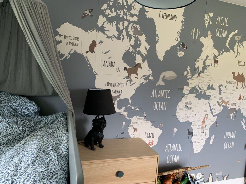 drengeværelse, børneværelse, landkort